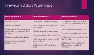 Pre-team 2 bars warm-ups